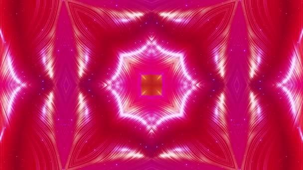 abstraktní symetrické 3D struktury jako tekutý kaleidoskop ve smyčkové animaci, hladké barevné přechody se zářivým třpytem. Kaleidoskopický efekt s abstraktními vlnami. Krásný abstraktní bg 3d vzor. DOF