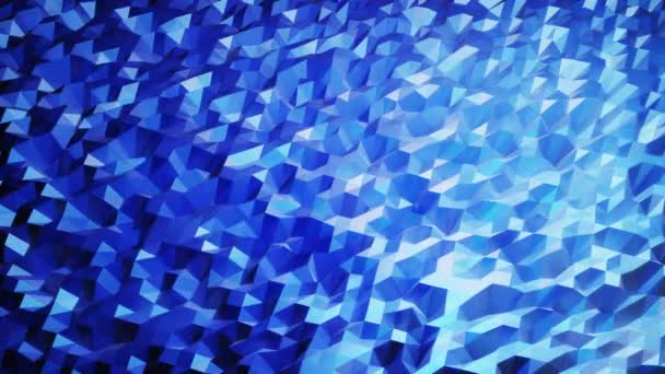 stylové kreativní abstraktní nízké poly pozadí v 4k. Abstraktní vlny se pohybují po lesklém povrchu ve smyčce. Hladké měkké plynulé animace. Jednoduchý minimalistický geometrický bg. Barva modrého přechodu