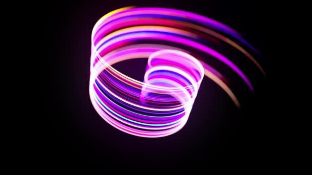 Mozgókép, sci-fi bg. A többszínű neonvonalak spirális formát, fürtöket és mintázatot alkotnak. Absztrakt háttér fény pályák, modern trendi mozgás design háttér. Fényáram bg-ban 4k-ban.