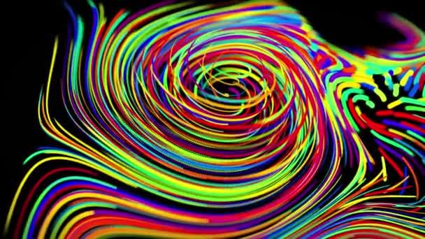 tok částic tvoří stočené čáry jako světelné stopy různých barev, čáry tvoří vířící vzor jako kudrnatý šum. Abstraktní 3D smyčka tekoucí animace jako světlé kreativní slavnostní pozadí