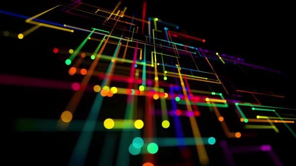 elvont hurkolt háttér technológiai koncepció sok vonalak és csomópontok különböző színekben. Sci-fi bg izzó részecskék alkotnak vezetékek, mint az elektromos áramkör vagy mikroáramkör