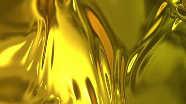Goldseidenes Gewebe bildet in Zeitlupe schöne Falten in der Luft. 4k 3D Animation von welligen Oberflächen formt Wellen wie in flüssigen Oberflächen und die Falten wie in Gewebe. Animierte Textur.