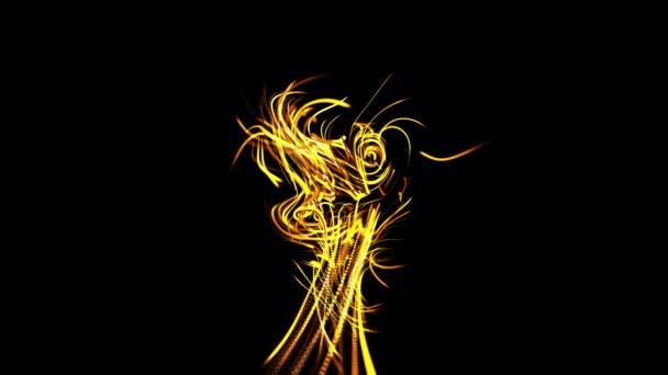 elvont gyönyörű háttér izzó sárga áramlását vonalak részecskékből. A vonalak nőnek és absztrakt, gyönyörű fürtöket alkotnak az űrben. Gyönyörű, mozgásban lévő kötélfolyam. Gyönyörű fürtök..