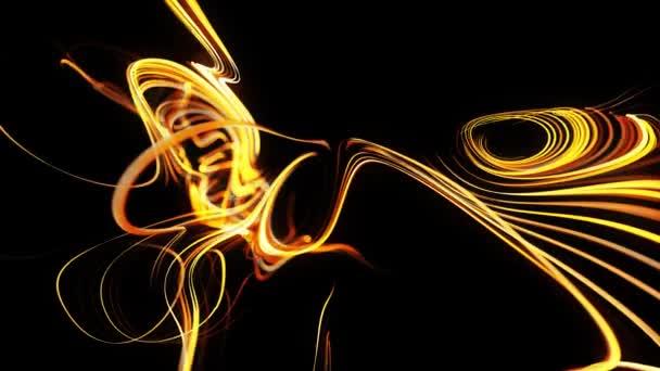 a részecskék áramlása sárga vonalakat alkot, mint a világító fény pályák, a vonalak örvénylő mintázatot alkotnak, mint a görbe zaj. Absztrakt 3D animáció, mint fényes kreatív ünnepi háttér. Gyors fényvonalak