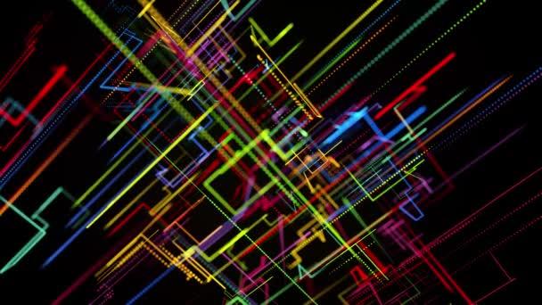 Sci-fi smyčka pozadí, abstraktní hologram. Vícebarevné neonové zářící čáry vytvářejí digitální 3D prostor. Koncepce připojení, nervová síť nebo umělá inteligence, vizualizace více výpočtů různých oborů