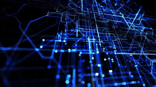 Fények, izzó részecskék. Absztrakt hurok háttér, mint technológiai koncepció sok kék vonalak és csomópontok. Sci-fi bg izzó részecskék alkotnak vezetékek, mint az elektromos áramkör vagy mikroáramkör.