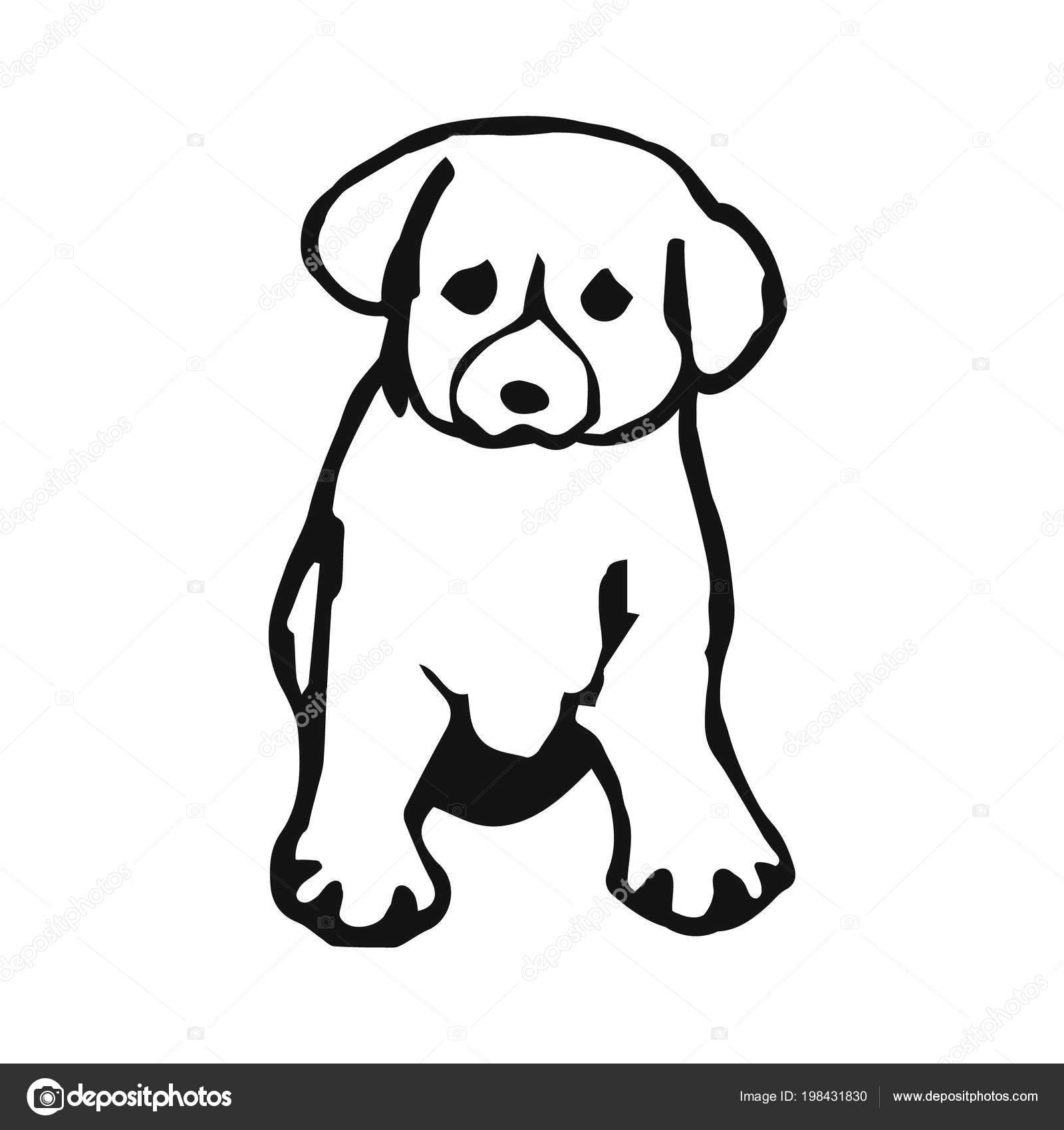 cub hond grappig tekening puppy van zwarte lijnen een witte