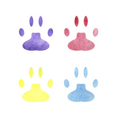 paw watercolor outline. Set of illustrations on