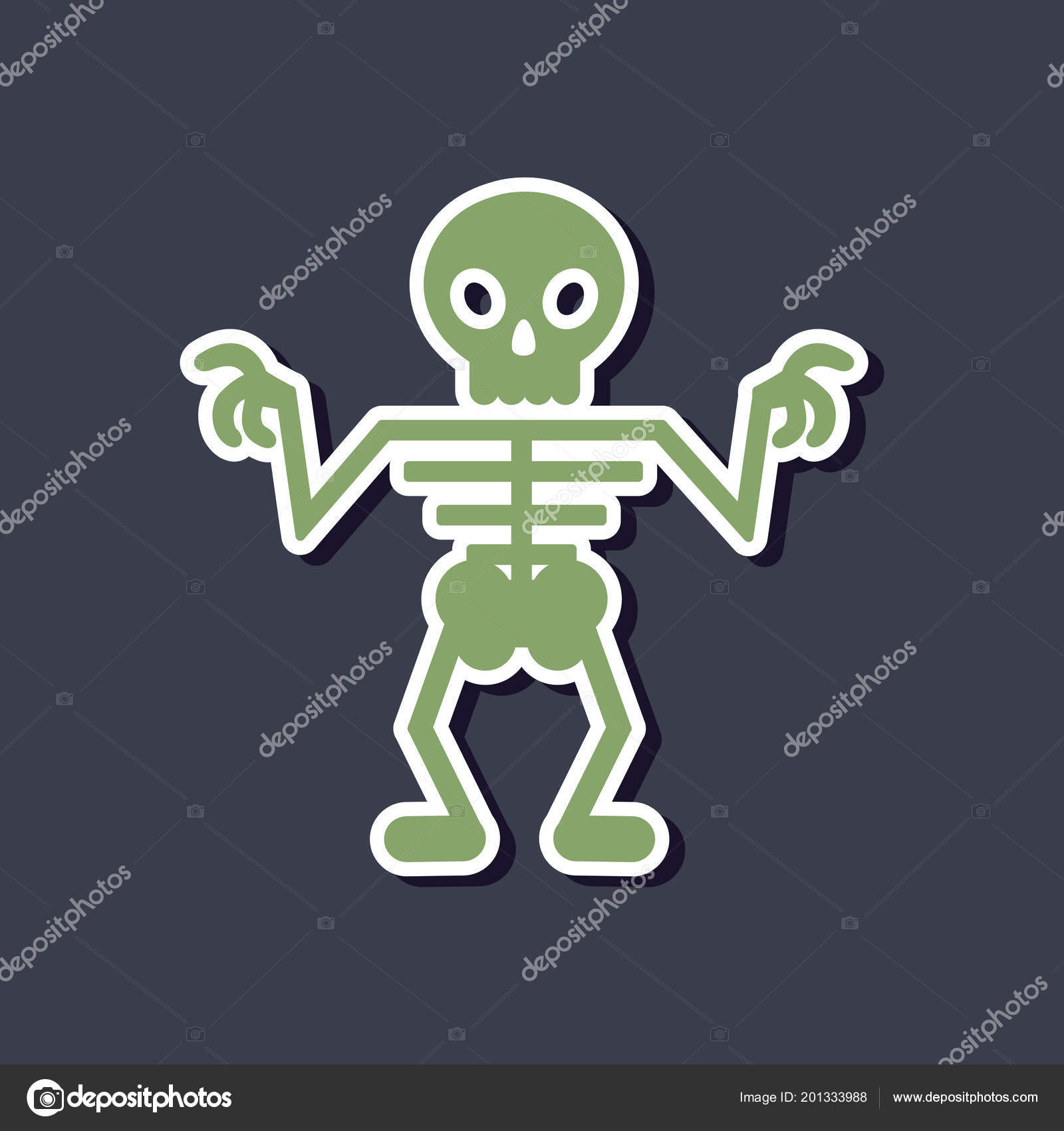 etiqueta engomada del papel de esqueleto de halloween fondo con ...
