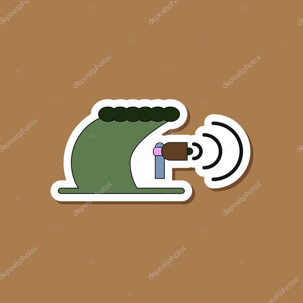 paper sticker on stylish background tsunami loudspeaker