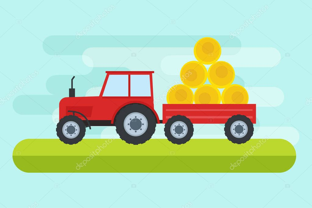 Vector illustration of tractor working on farmed land in flat style. Vector illustration