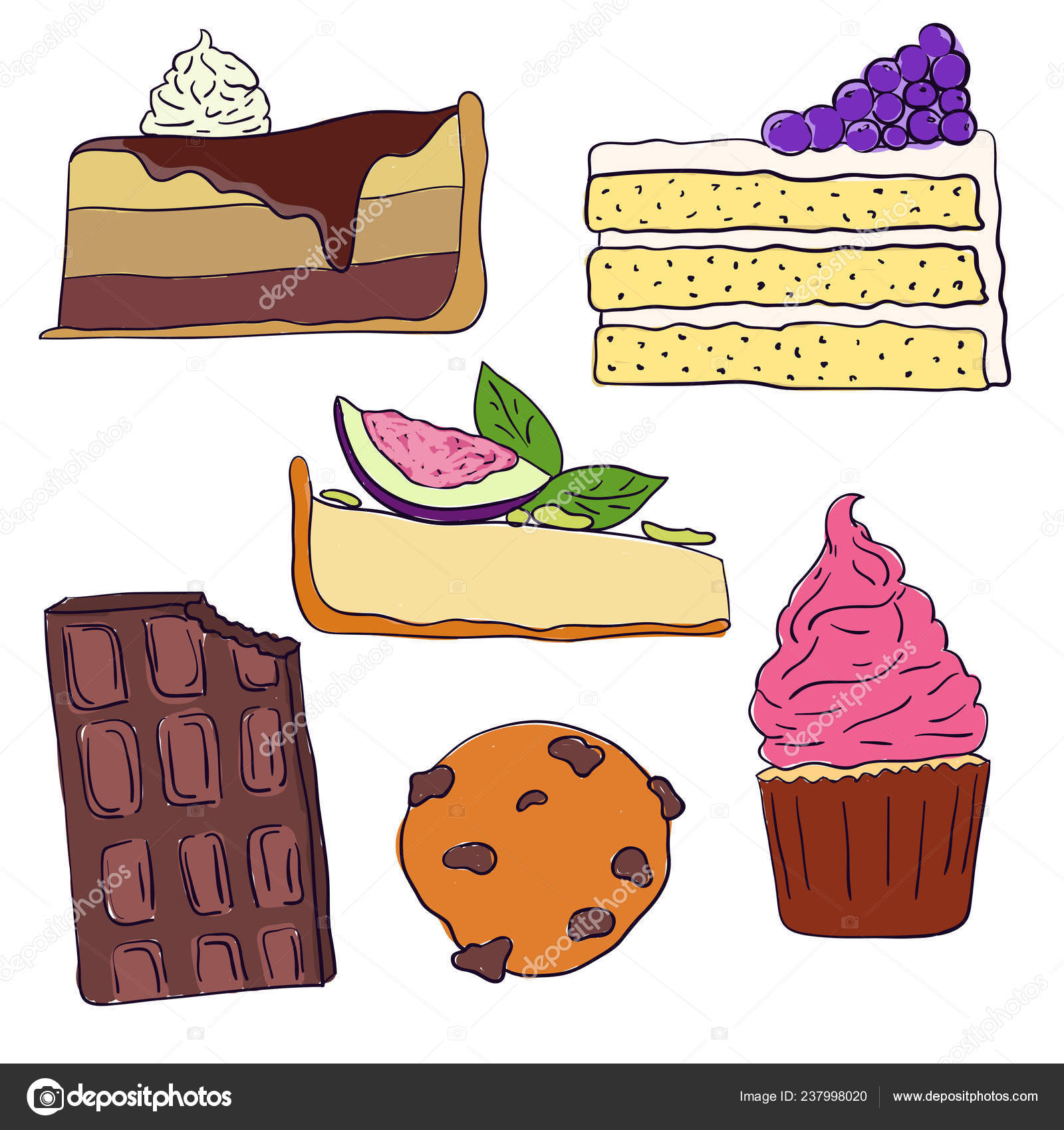 Hand Drawn Sweet Cakes Slices Set Vector Illustration Doodle