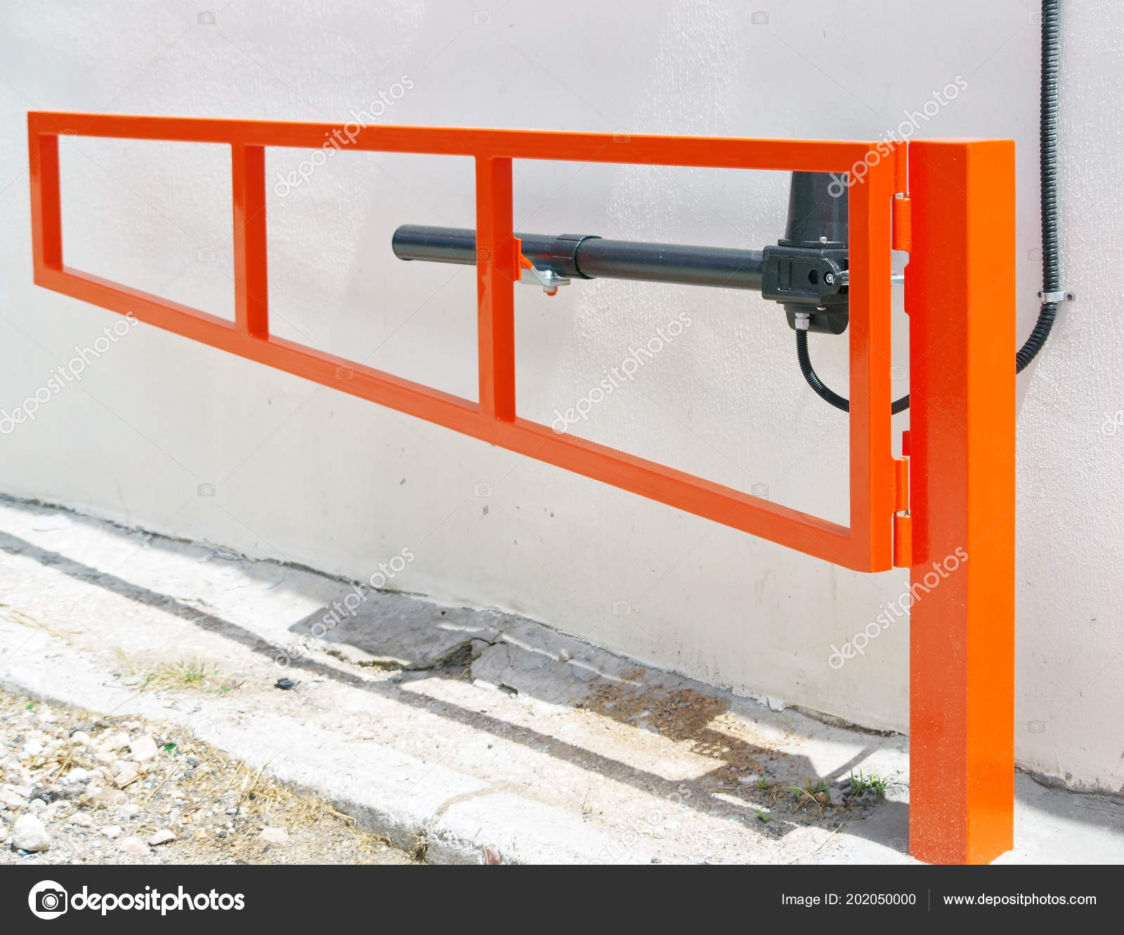 Automatic Barrier Gates Entry Courtyard Building — Stock