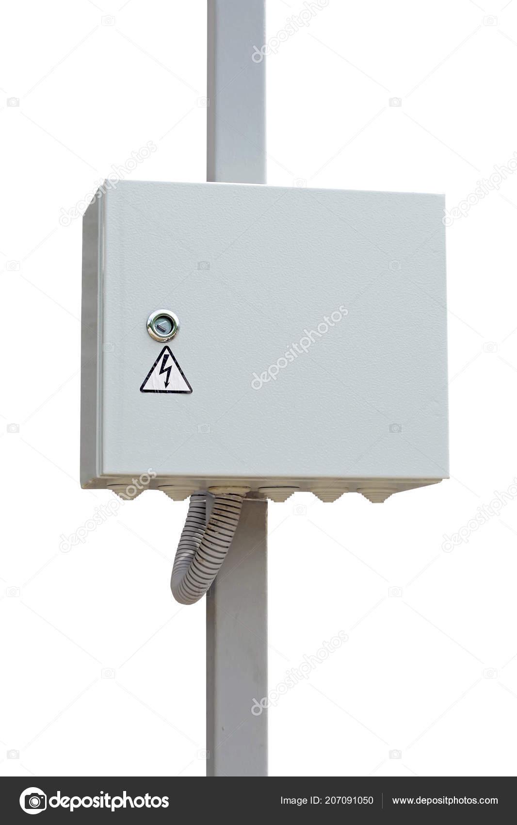 Buiten Kasten Voor Elektrische Apparatuur Witte Achtergrond