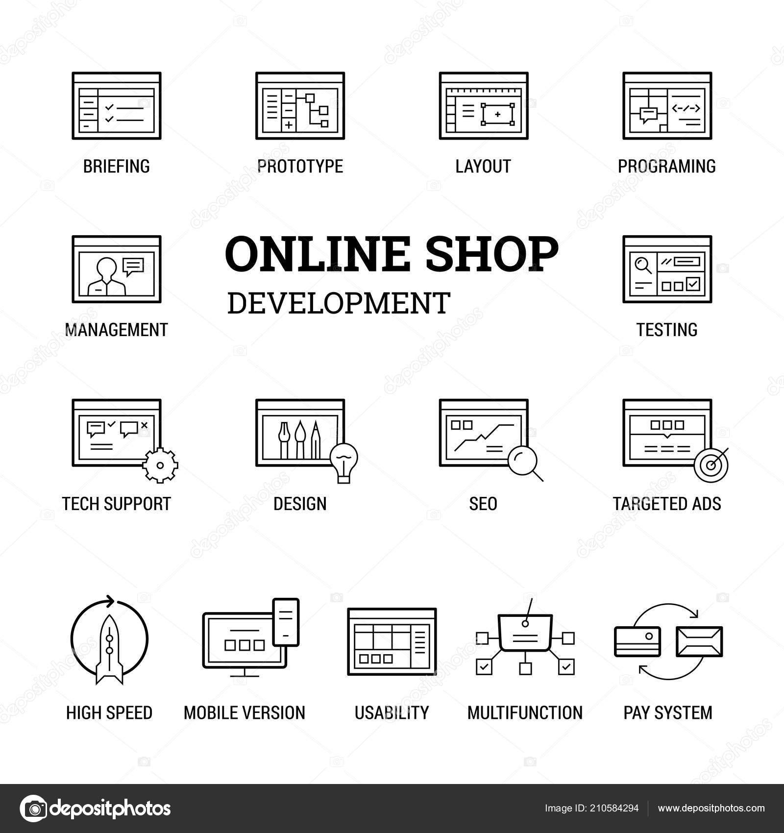 8954a561d1 Sviluppo Negozio Online Set Icone Sottile Linee Thik Nero Bianco — Vettoriale  Stock