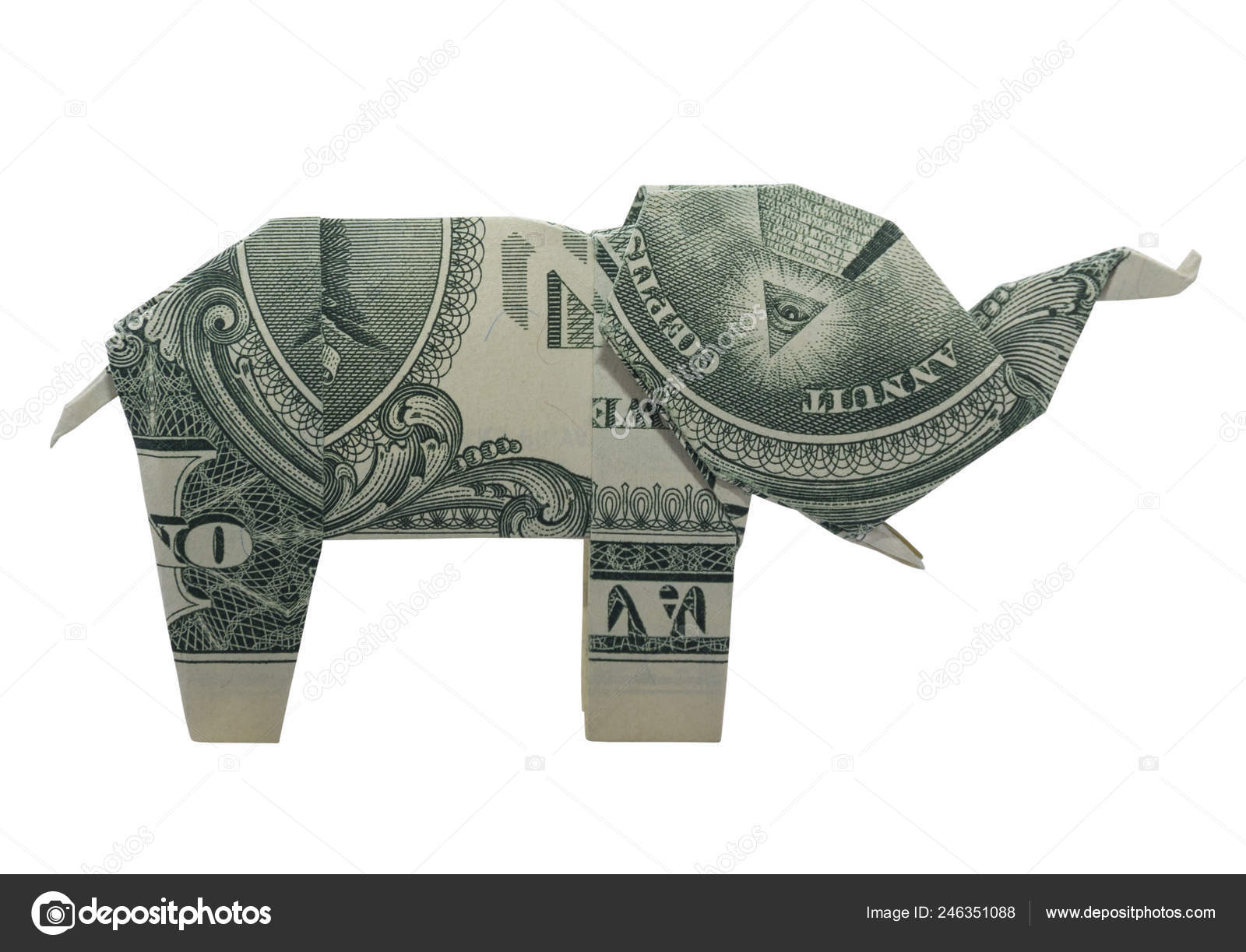 Money Origami SEA TURTLE Isolated Real One Dollar Bill Stock Photo ... | 1223x1600