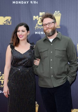 Seth Rogen and Lauren Miller at the 2018 MTV Movie And TV Awards held at the Barker Hangar in Santa Monica, USA on June 16, 2018.