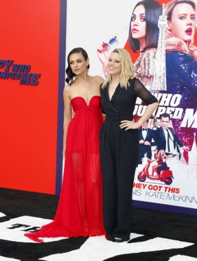 actresses Mila Kunis and Kate McKinnon at the Los Angeles premiere of 'The Spy Who Dumped Me' held at the Regency Village Theater in Westwood, USA on July 25, 2018.