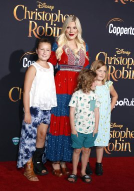 Tori Spelling, Stella Doreen McDermott, Finn Davey McDermott and Hattie Margaret McDermott at the Los Angeles premiere of 'Christopher Robin' held at the Walt Disney Studios in Burbank, USA on July 30, 2018.