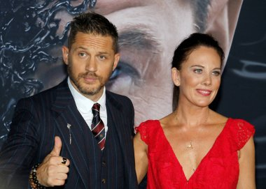 Tom Hardy and Kelly Marcel at the Los Angeles premiere of 'Venom' held at the Regency Village Theatre in Westwood, USA on October 1, 2018.