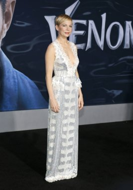 actress Michelle Williams at the Los Angeles premiere of 'Venom' held at the Regency Village Theatre in Westwood, USA on October 1, 2018.