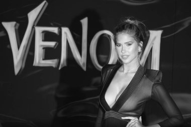 model Kara Del Toro at the Los Angeles premiere of 'Venom' held at the Regency Village Theatre in Westwood, USA on October 1, 2018.