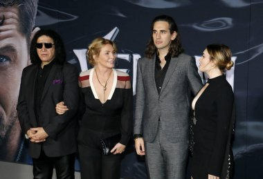Gene Simmons, Shannon Tweed, Nick Simmons and Sophie Simmons at the Los Angeles premiere of 'Venom' held at the Regency Village Theatre in Westwood, USA on October 1, 2018.