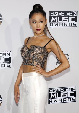 singer-songwriter Ariana Grande at the 2016 American Music Awards held at the Microsoft Theater in Los Angeles, USA on November 20, 2016.