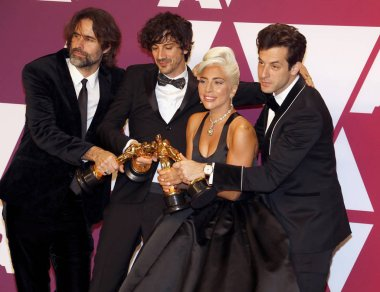 Andrew Wyatt, Anthony Rossomando, Lady Gaga and Mark Ronson at the 91st Annual Academy Awards - Winners Room held at the Hollywood and Highland in Los Angeles, USA on February 24, 2019.