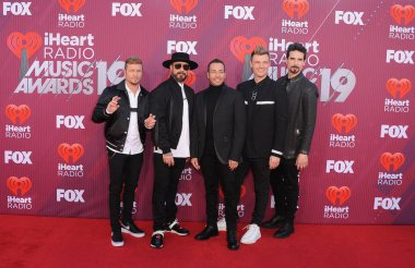 AJ McLean, Howie Dorough, Nick Carter, Brian Littrell and Kevin Richardson of Backstreet Boys at the 2019 iHeartRadio Music Awards held at the Microsoft Theater in Los Angeles, USA on March 14, 2019.