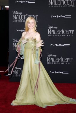 actress Elle Fanning at the World premiere of Disney's 'Maleficent: Mistress Of Evil' held at the El Capitan Theatre in Hollywood, USA on September 30, 2019.