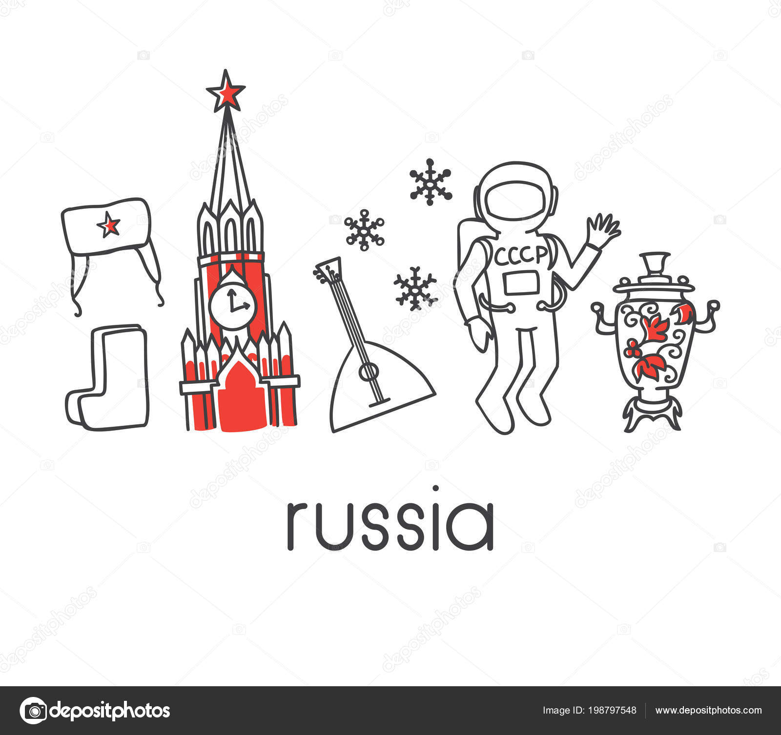Modern Vector Line Illustration Russia Famous Russian Symbols