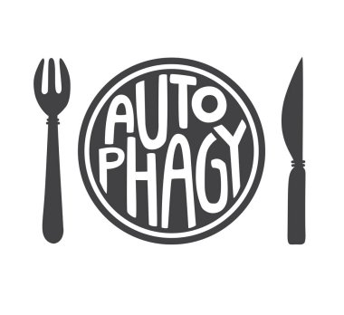 Autophagy. Flat vector illustration of a plate with a fork and a knife and hand lettering in black and white. Intermittent fasting theme. Motivational card, poster, banner, leaflet, flyer design.