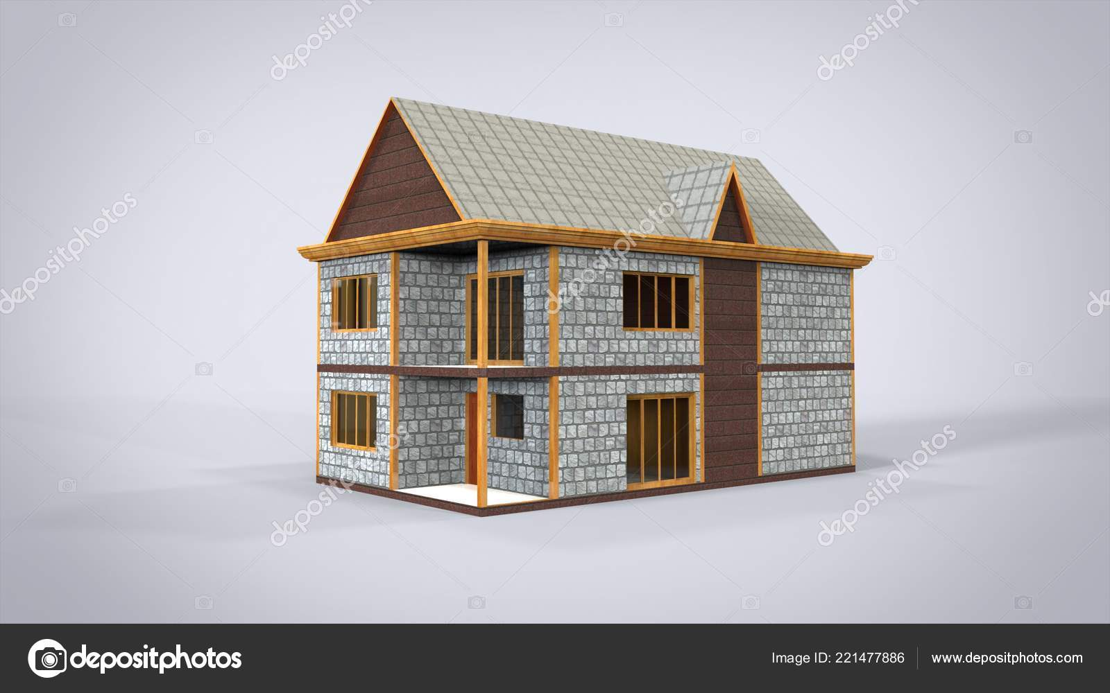 House Isolated Rendering Results Blender Application Stock