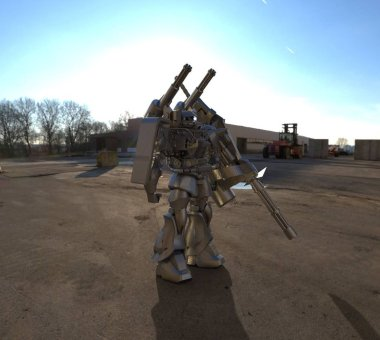 Sci-fi mech soldier standing on a landscape background. Military futuristic robot with a green and gray color metal. Mech controlled by a pilot. Scratched metal armor robot. Mech Battle. 3D rendering