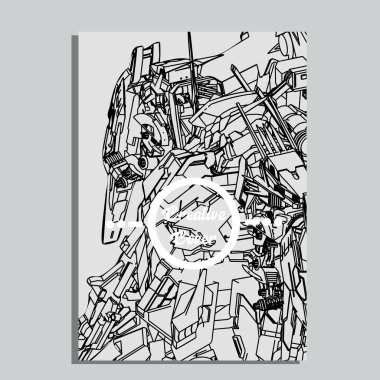Vector illustration. robot in white background. For t-shirt design, poster, sticker. Line Style. - Vector