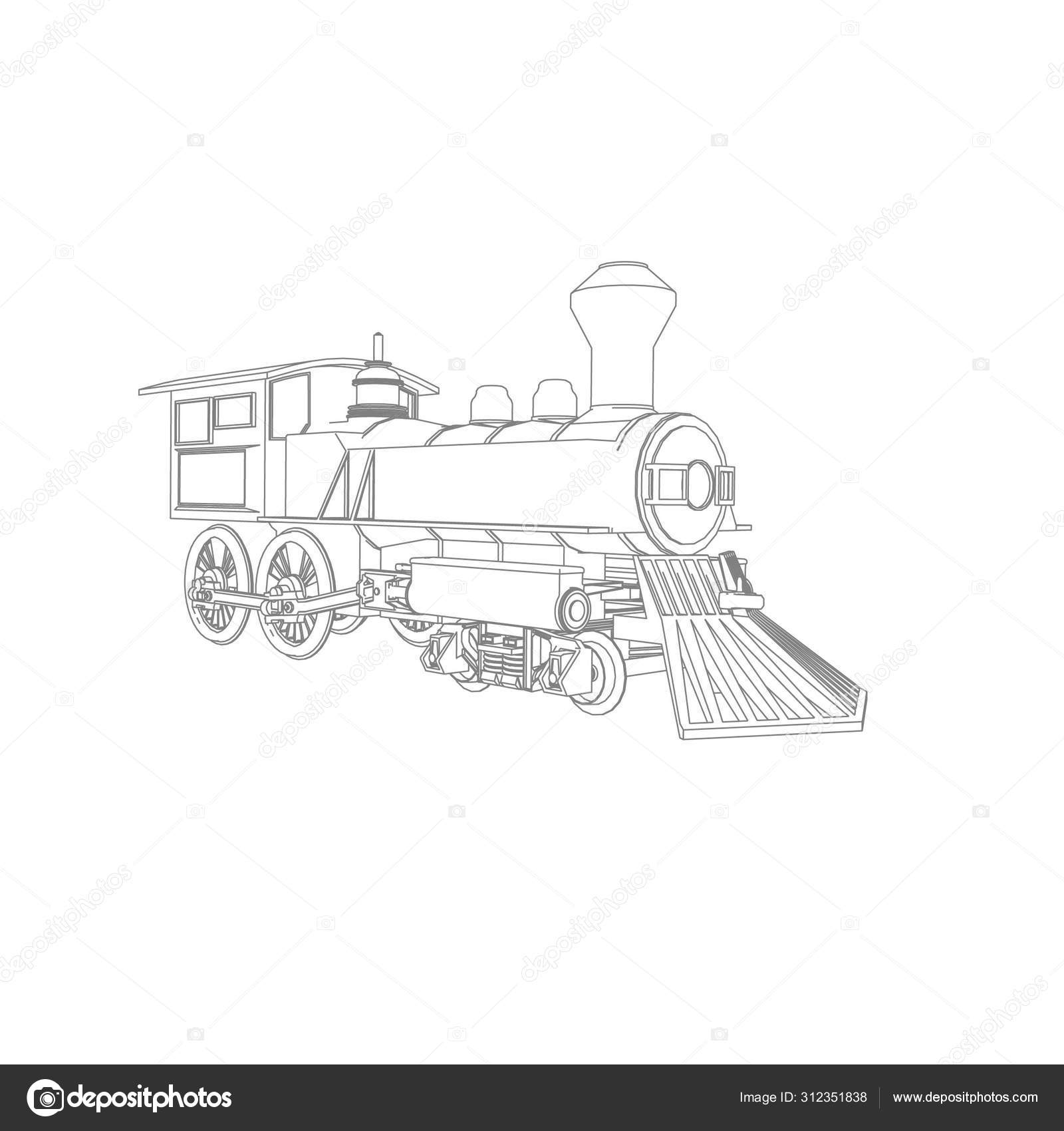 Line Art Of The Train Coloring Page Train Illustration For