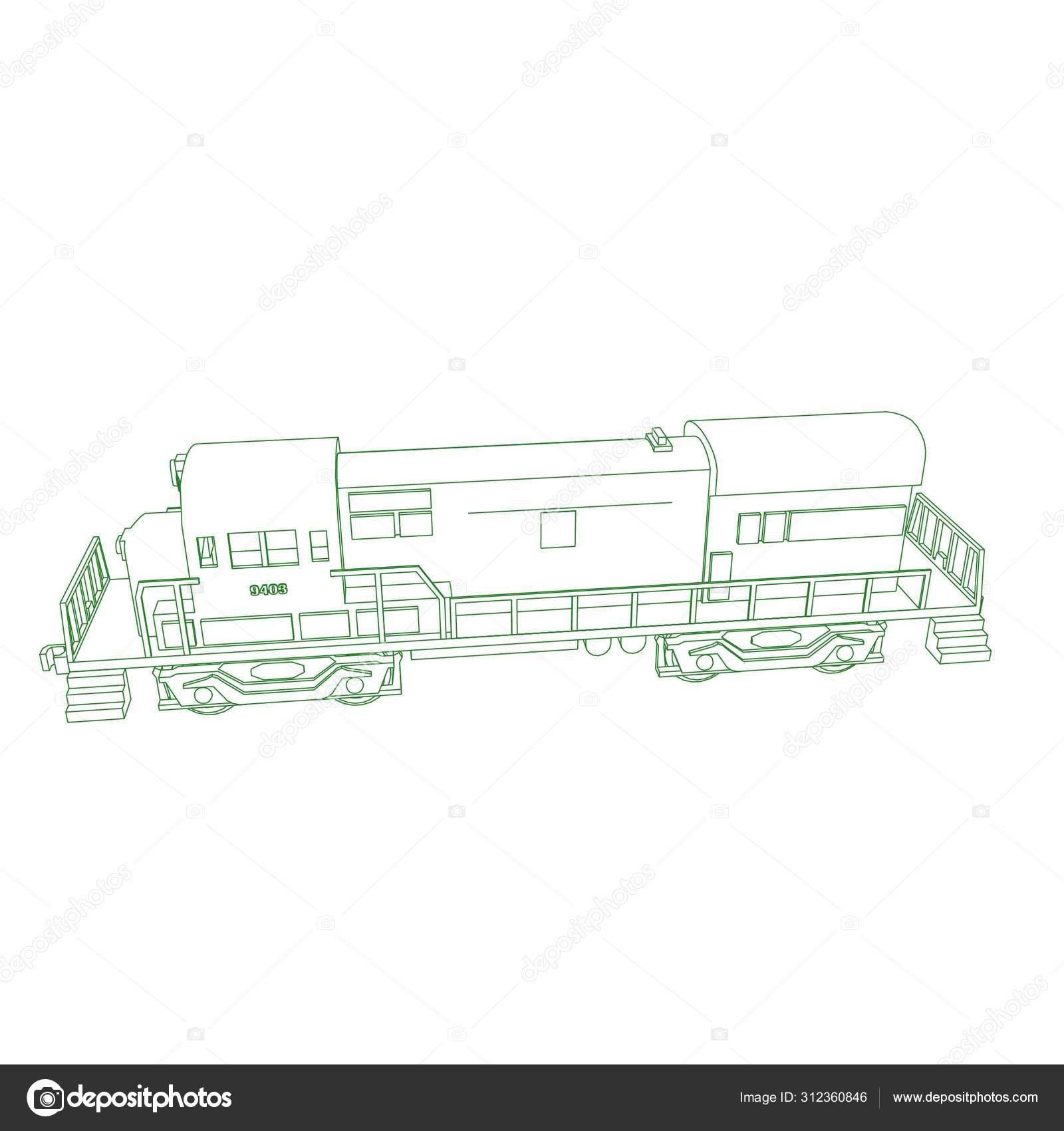 Linha De Arte Do Trem Desenho Para Colorir Trem Ilustracao