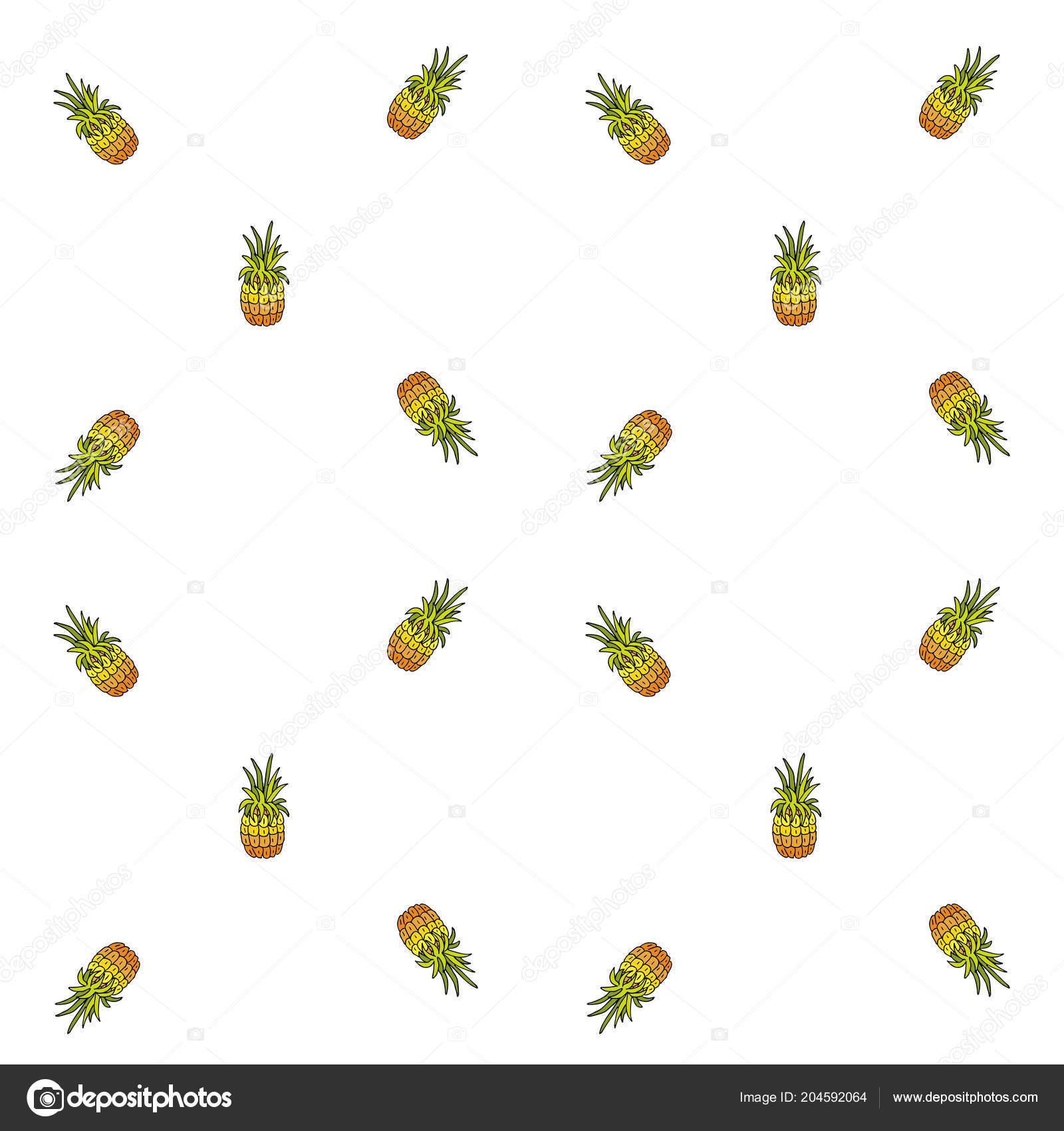 Dessinés Main Doodle Icônes Ananas Fruits Modèle Seamless