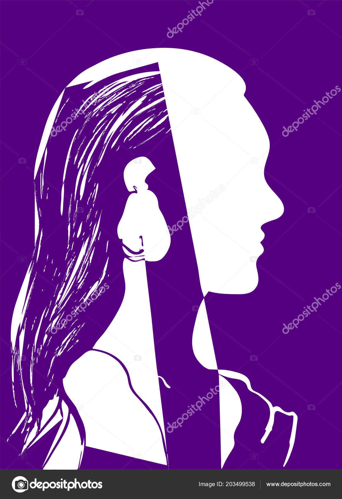 Silhouette Tête Femme Profil Une Belle Jeune Fille Aux