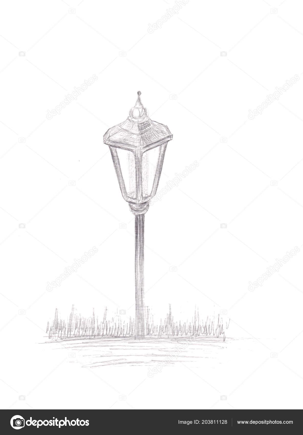 Small garden light solar powered lamp drawing pencil sketch lantern stock photo