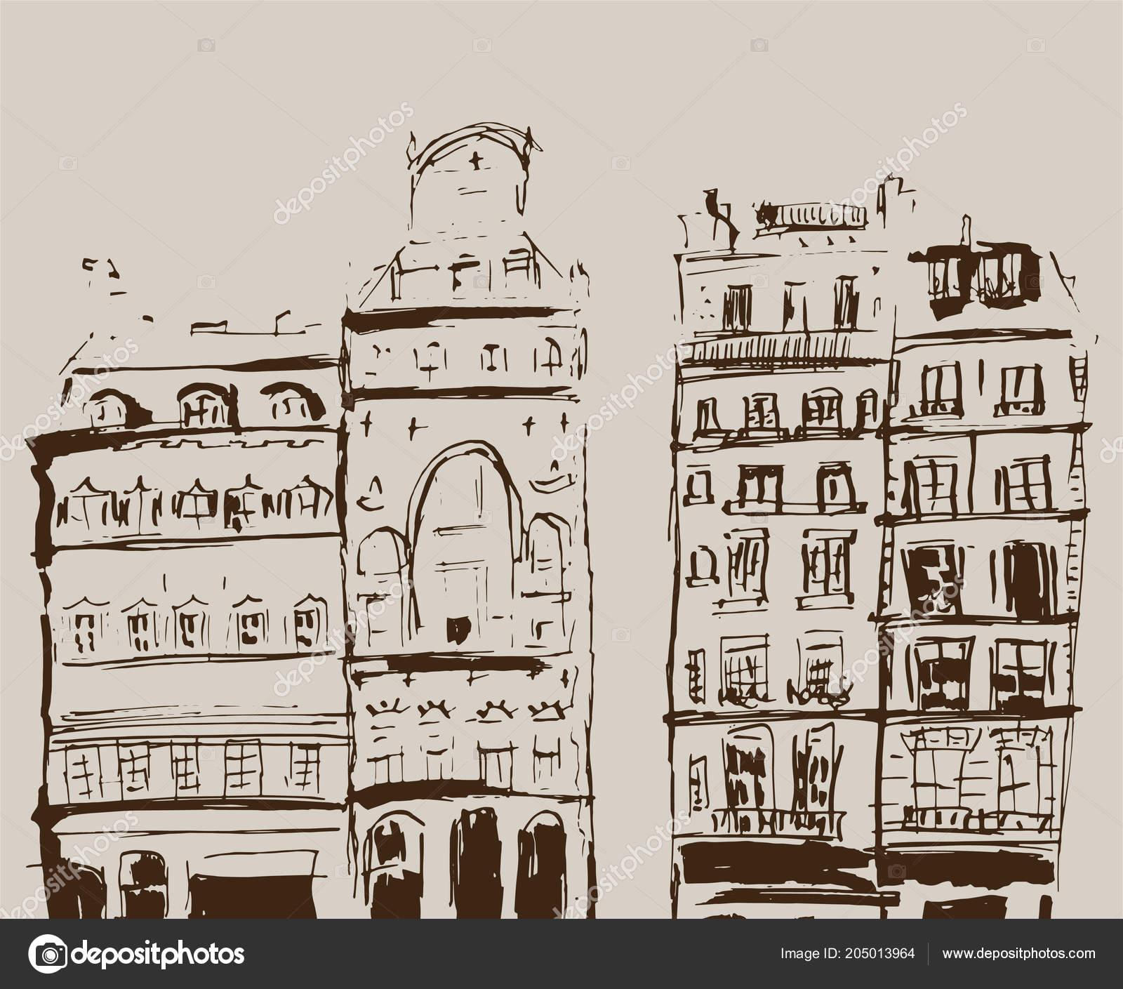 Rukopis Nacrt Budov Rucne Tazene Ilustrace Domu Evropskem Stareho