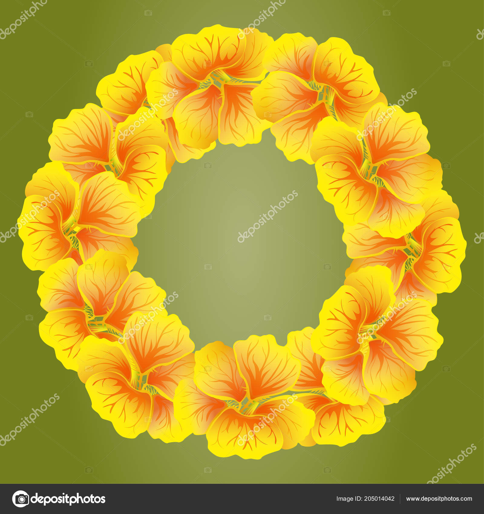 Bright nasturtium wreath wild yellow flowers beautiful floral circle bright nasturtium wreath wild yellow flowers beautiful floral circle isolated stock vector mightylinksfo