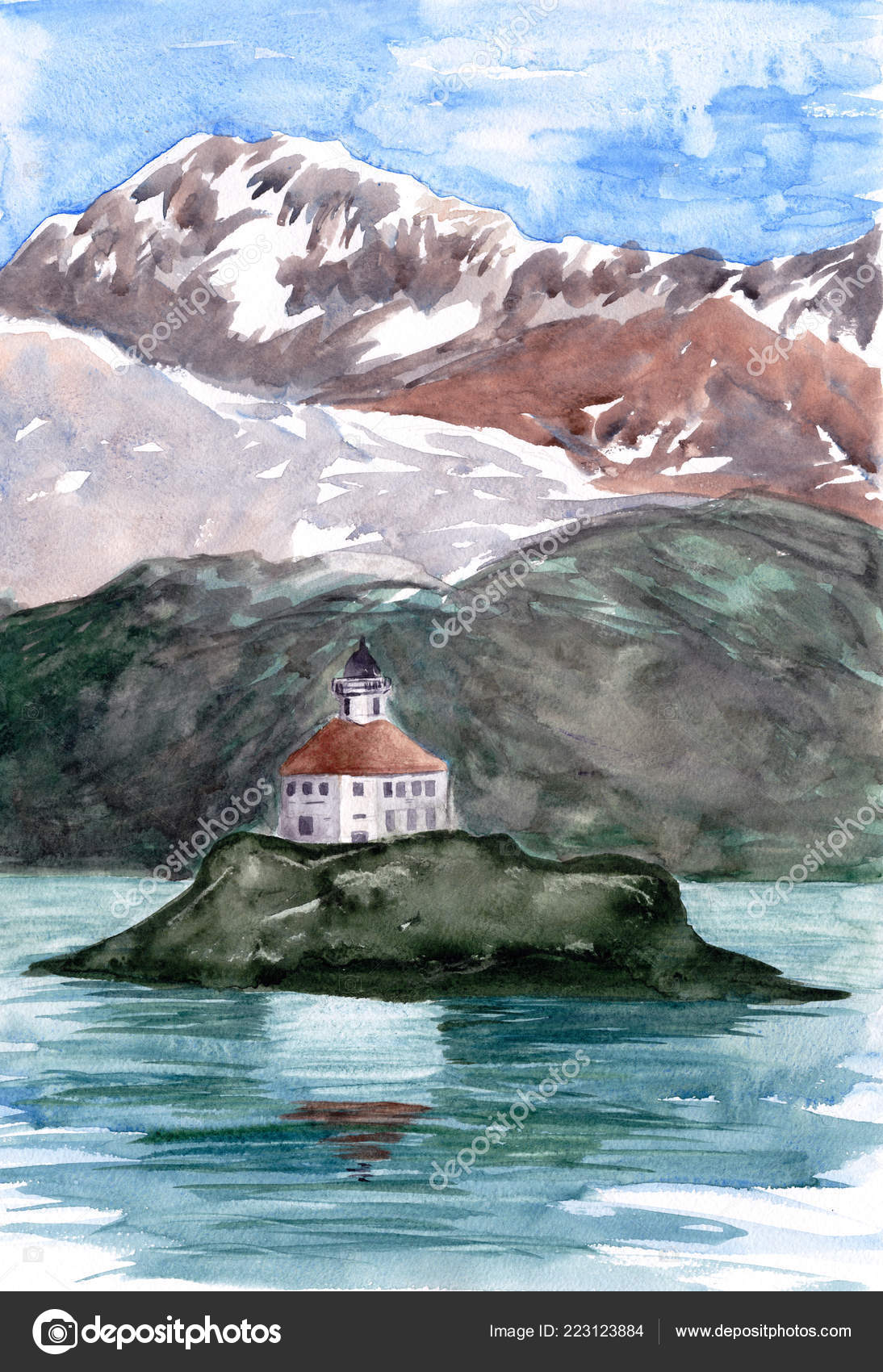 Lighthouse Island Mountains Hills Background Watercolor