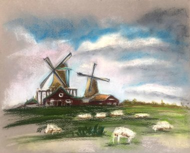 Sheep grazing near the mill. Beautiful clouds in the sky. Rustic Dutch landscape. Netherlands village. Milk or sheep farm. Hand drawn illustration of pasture. Pastel technics.