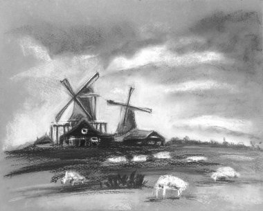 Sheep grazing near the mill. Beautiful clouds in the sky. Rustic Dutch landscape. Netherlands village. Milk or sheep farm. Hand drawn illustration of pasture. Pastel technics. Gray, white, black colors.