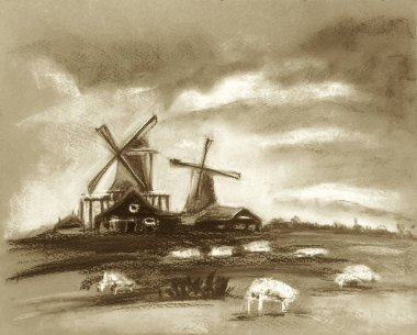 Sheep grazing near the mill. Beautiful clouds in the sky. Rustic Dutch landscape. Netherlands village. Milk or sheep farm. Hand drawn illustration of pasture. Pastel technics. Sepia brown colors.