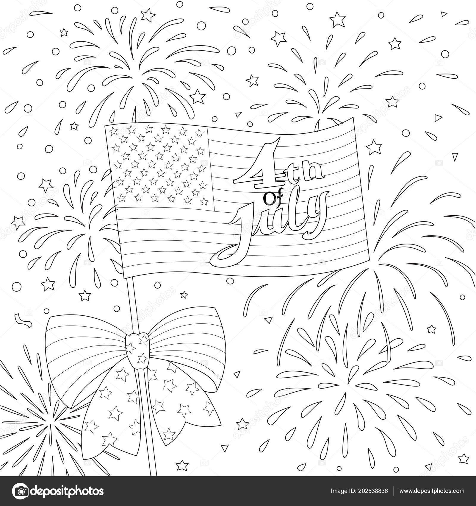 Líneas Diseño Bandera Americana Con Fuegos Artificiales Feliz Julio