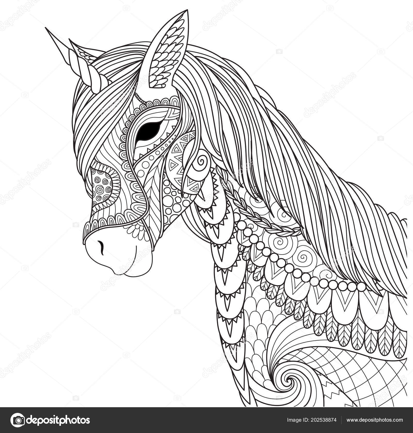 Unicorn Coloring Book Page Other Design Element Vector Illustration