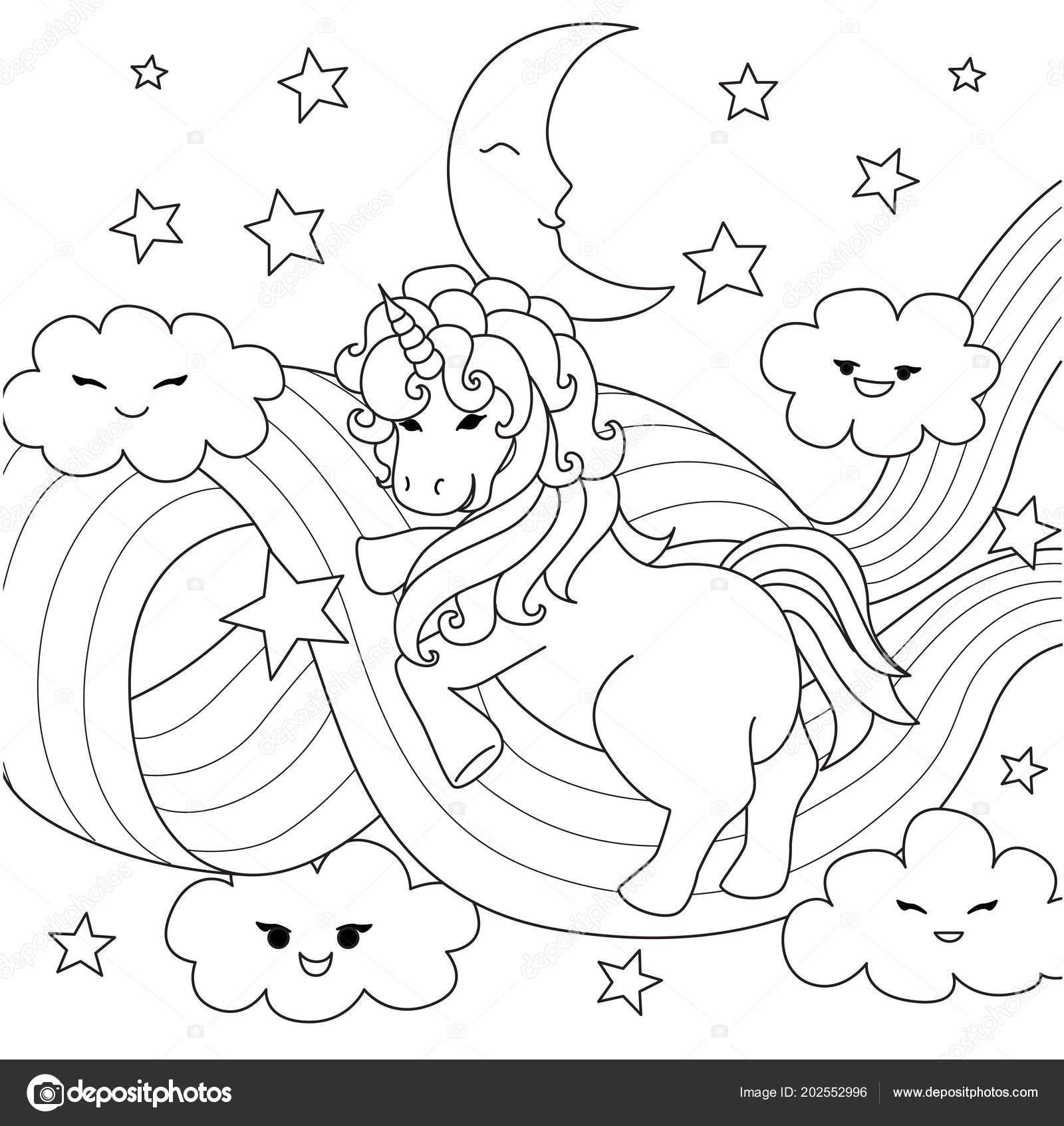Unicornio Jugando Con Camino Arco Iris Para Elemento Diseño